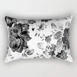 ROSES BLACK AND WHITE AND GRAY VINTAGE Rectangular Pillow