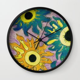Green and orange Sunflowers. Wall Clock