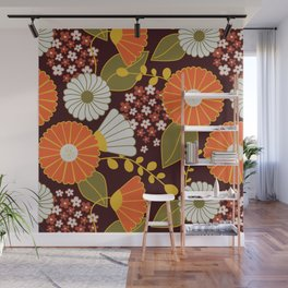 Maroon, Orange, Yellow and Red Retro Flowers Wall Mural