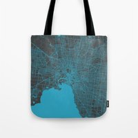 melbourne Tote Bags featuring Melbourne map by Map Map Maps