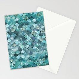 Mermaid Scales Aqua Turquoise Mermaid Pattern Stationery Cards