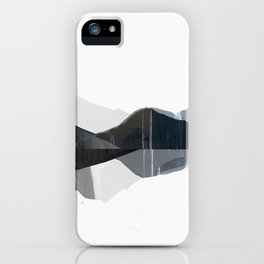 Lake reflection artprint blue and grayscale illustration iPhone Case