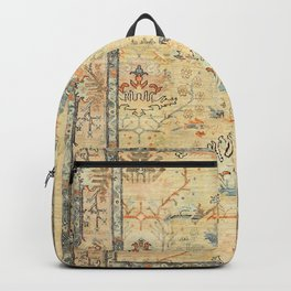 Fine Crafted Old Century Authentic Colorful Yellow Dusty Blues Greys Vintage Rug Pattern Backpack