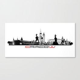 Cracow skyline black Canvas Print