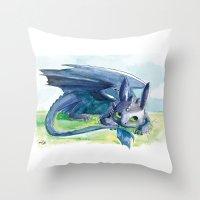 how to train your dragon Throw Pillows featuring How to Train Your Dragon - Toothless by PinStripes Studios
