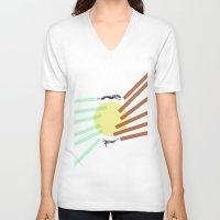 greyhound V-neck T-shirts featuring Greyhound Round by Uzair Choughtai