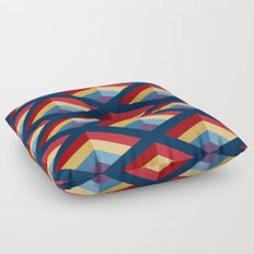 SQUARE HOLES / midnight blue / ketchup red / putty yellow / phthalo blue / violet Floor Pillow