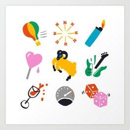 Aries Emoji Art Print