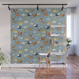 Cat Face Doodle Pattern Wall Mural