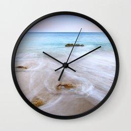 """Serenity beach"". Praia Do Porto Mos At Sunset. Algarve. Portugal Wall Clock"