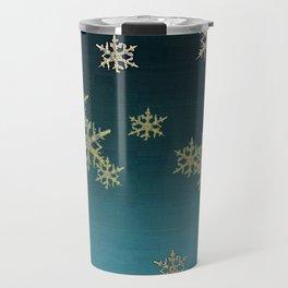 """MORE SNOW"" TEAL BLUE ART DESIGN Travel Mug"