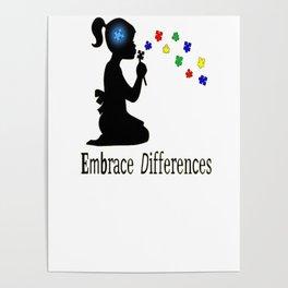 Autism Awareness Embrace Differences T-Shirt Poster