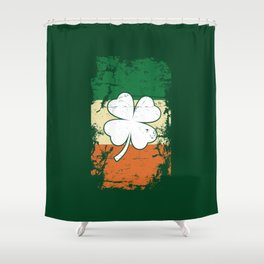 Distressed Irish Flag St Patrick Shamrock Green Shower Curtain