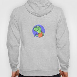 Funny cartoon dinosaur  working out with weights Hoody