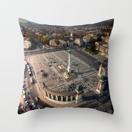 Aerial perspective above Heroes Square, Budapest, Hungary Throw Pillow