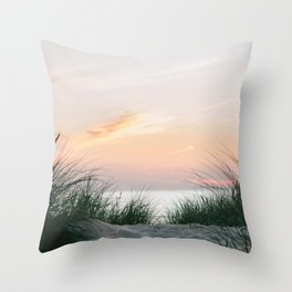 Dune grass at colourful pastel sunset | Painted sky at North Sea, Netherlands | Fine art travel photography Throw Pillow