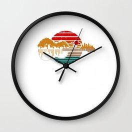 Disc Golf Flying Disc - Disc Golf Sunset Guitar Wall Clock