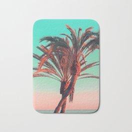 Paradise | modern pink turquoise tropical palm tree beach sea summer photography Bath Mat