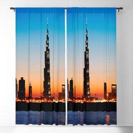 Dubai Skyline With Burj Khalifa At Sunset Dubai United Arab Emirates Ultra HD Blackout Curtain