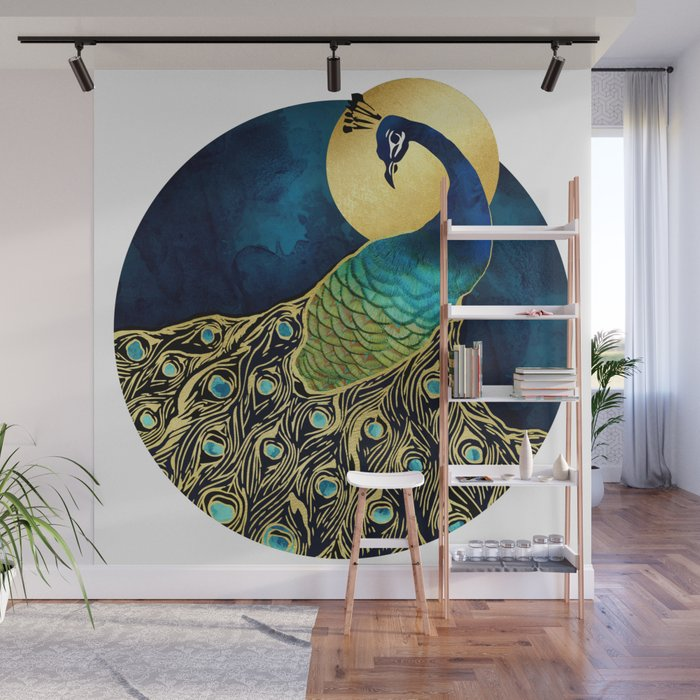 Golden Peacock Wall Mural by spacefrogdesigns Society6