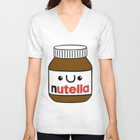 nutella V-neck T-shirts featuring Nutella Monster by Tushietweet