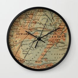 Vintage Jersey City, Newark, Elizabeth NJ Map (1894) Wall Clock