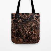 military Tote Bags featuring Military skull by barmalisiRTB