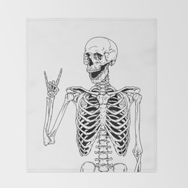 Rock and Roll Skeleton Throw Blanket