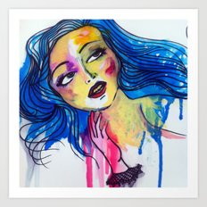 blue haired girl Art Print