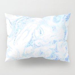 White Marble with Pastel Blue Purple Teal Glitter Pillow Sham
