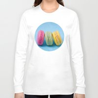 macaron Long Sleeve T-shirts featuring Macaron Series - Blue by Zayda Barros