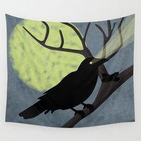 crow Wall Tapestries featuring Crow by Nir P