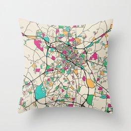 Colorful City Maps: Durham, North Carolina Throw Pillow