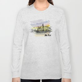 New York. Watercolor and ink. Long Sleeve T-shirt