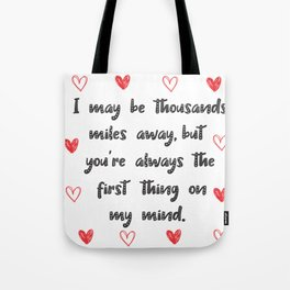 Long Distance Love Relationship Tote Bag