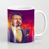 tony stark Mugs featuring Tony Stark - Iron Man by KanaHyde