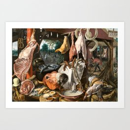 A Meat Stall with the Holy Family Giving Alms, 1551 Art Print