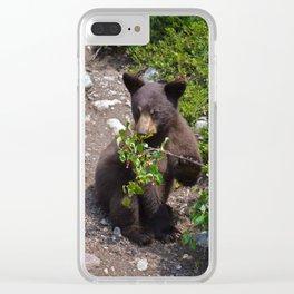 Black bear cub vs. berries Clear iPhone Case