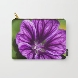 Purple Hollyhock Flower Carry-All Pouch