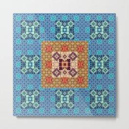 Elegant Fractal Geometric Healing Soul Quilt Metal Print