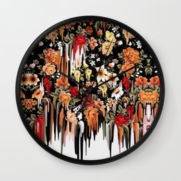 Free Falling, melting floral pattern Wall Clock