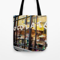 chocolate Tote Bags featuring chocolate by The Last Sparrow