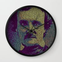poe Wall Clocks featuring Edgar Allan Poe. by Robotic Ewe