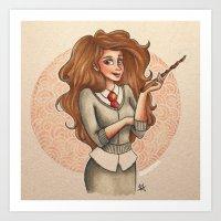 hermione Art Prints featuring Hermione by Dee J.
