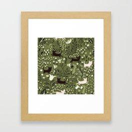 Cats in the Garden Pattern Framed Art Print
