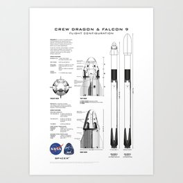NASA SpaceX Crew Dragon Spacecraft & Falcon 9 Rocket Blueprint in High Resolution (white) Art Print