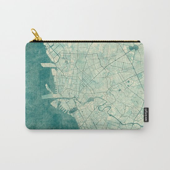 Manila Map Blue Vintage Carry-All Pouch