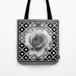Art Deco White Rose Black-White-Grey Art Tote Bag