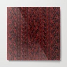 Cardinal Red Cable Knit Metal Print