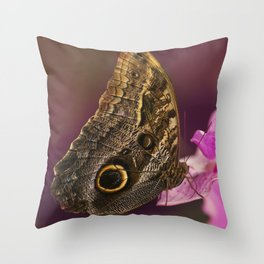 Blue Morpho butterly on pink flowers Throw Pillow